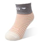 健康童襪-橫紋粉橘-6雙